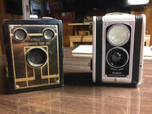 Two vintage Kodak cameras using 620 film. They had a place in my camera bag for years.